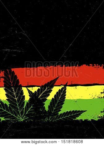 Marijuana silhouette. Rastafarian flag grunge background. With space for text for your projects