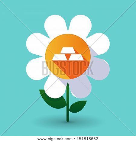 Long Shadow Daisy Flower With Three Gold Bullions