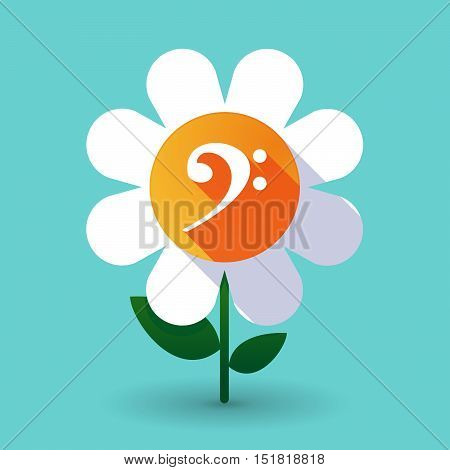 Long Shadow Daisy Flower With An F Clef