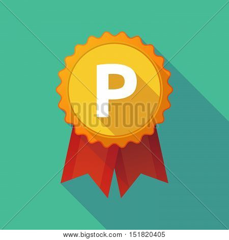 Long Shadow Badge With    The Letter P