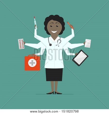 Woman multi-doctor. Multitasking. Flat design vector isolated