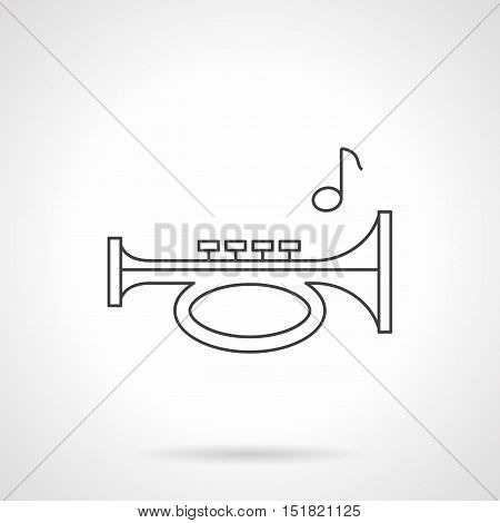 Trumpet pipe and single note. Bugle melody. Woodwind and brass musical instruments for orchestra, different music entertainment. Black flat line vector icon.