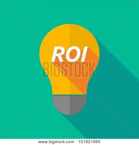 Long Shadow Light Bulb Icon With    The Return Of Investment Acronym Roi