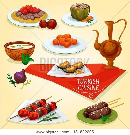 Turkish cuisine kebab meat dishes icon served with meat skewers shish kebab, iskender kebab on flatbread, lamb kefta kebab, rice soup with mint, carrot balls, stuffed pepper dolma, batter mussels