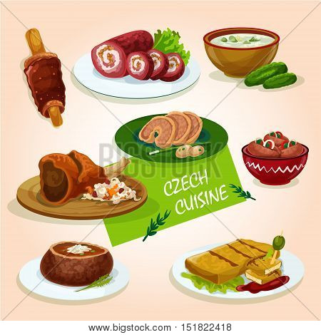 Czech cuisine roast pork knee sign served with stuffed carp, pickled sausage, fried cheese, beef roll, soup in bread bowl, chimney cake and cold cucumber soup
