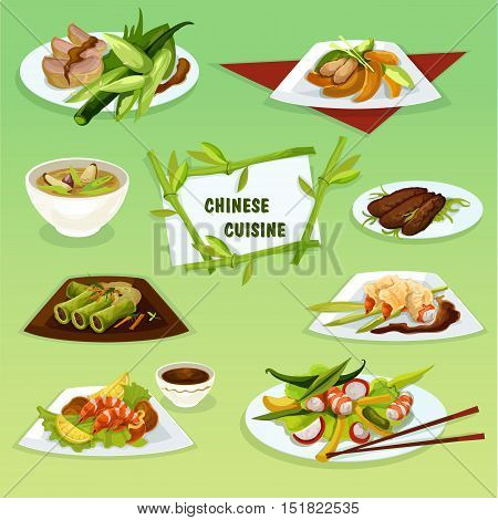 Chinese cuisine icon of refreshing food with peking duck, pork rice soup, snacks with spicy fried shrimps and butter prawns, seafood and duck salads, cabbage rolls with pork and chicken peach salad