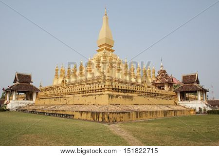 VIENTIANE, LAOS - FEBRUARY 20, 2016:  Wat That Luang, one of the sights in Vientiane on February 20, 2016 in Laos, Asia