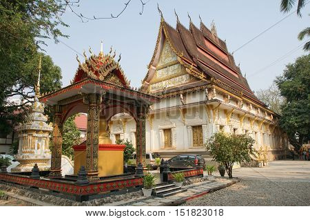 VIENTIANE, LAOS - FEBRUARY 21, 2016: Wat Hai Sok, one of the temples in Vientiane on February 21, 2016 in Laos, Asia