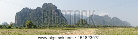 Landscape around Vang Vieng, Laos, South East Asia