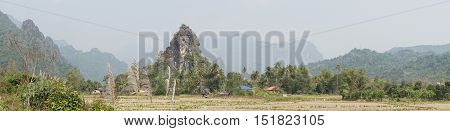 Landscape with traditional village close to Vang Vieng, Laos, Asia