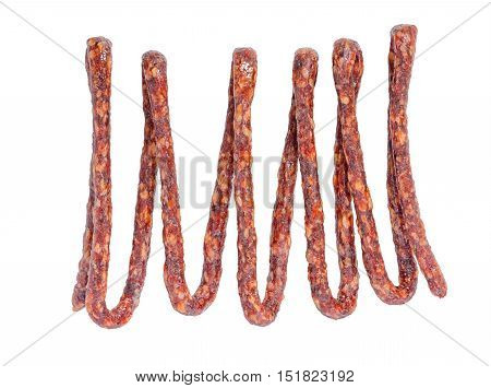 Tasty Delicious Dried Bundle Red Sausages, Salami Is Isolated On White Background, Close Up