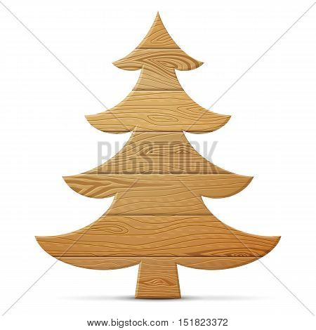 Christmas tree of wood isolated on white background. Wooden planks in shape of pine. Vector illustration for new years day christmas woodworking winter holiday new years eve silvester etc