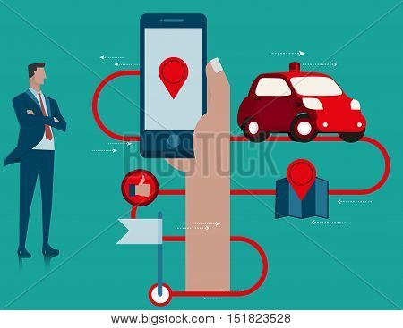 Business Car Mobile Application. Concept Business Illustration. Vector Flat