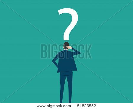 Confused, Young Businessman Looking At Question Mark. Concept Business Illustration. Vector Flat
