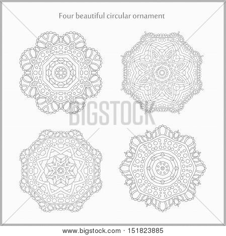 Set gentle and light circular ornament. Mandala. Vintage decorative elements. Islam, Arabic, Indian, ottoman motifs. Set of beautiful ethnic, oriental ornaments. Stylized flowers.