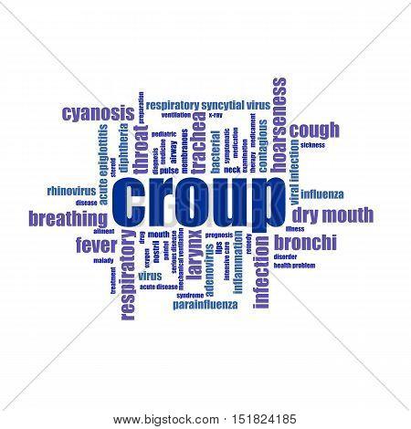 Croup word cloud collage illustration. Medicine, treatmen, cough