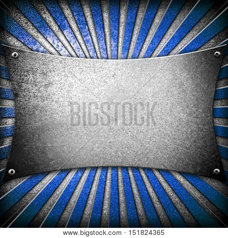 crude metal template with ray design background
