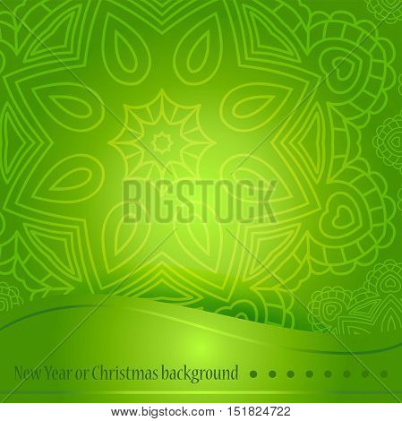 Beautiful green background with ornament for Christmas. Greeting card, gradient background. Space for text. A circular ornament, mandala. Celebratory bright background for Christmas and New Year.