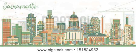 Abstract Sacramento Skyline with Color Buildings. Business Travel and Tourism Concept with Modern Architecture. Image for Presentation Banner Placard and Web Site.