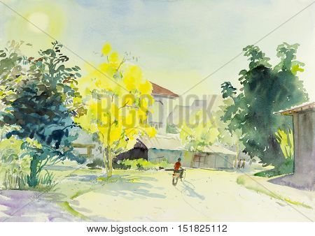 Painting oil color landscape original colorful of golden flower tree and emotion in blue with cloud in the sky background