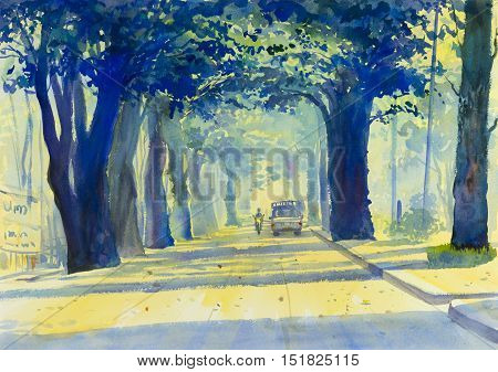 Watercolor landscape original painting colorful of Tunnel of Trees in countryside and emotion in atmosphere blue background