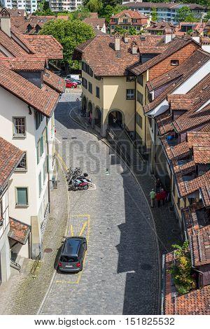 Bern Switzerland - May 26 2016: Overhead view of medieval street (Unesco Heritage) in Bern the capital of Switzerland.