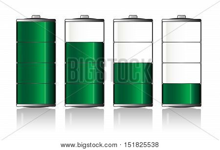 Battery charge indicator icons over a white background