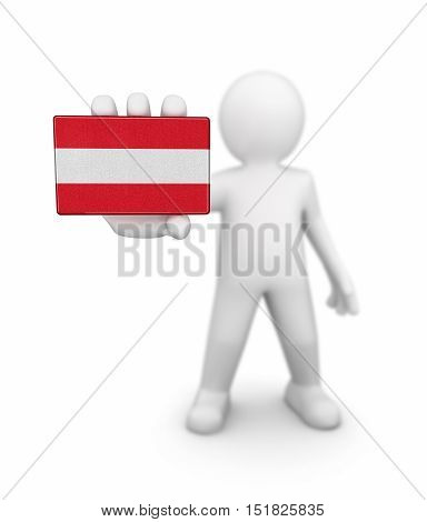 3D Illustration. Man and Austrian flag. Image with clipping path