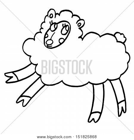 Funny sheep isolated on white background. Hand drawn illustration in sketch style.