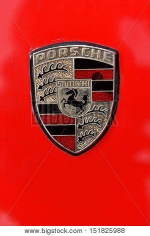 Red Porsche Vintage Car Sign
