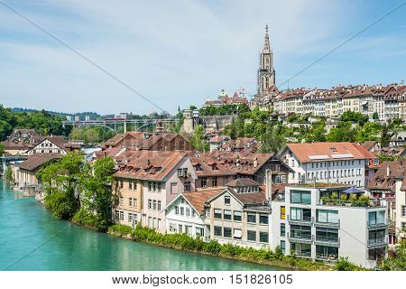 View of Bern old town over the Aare river - Switzerland.