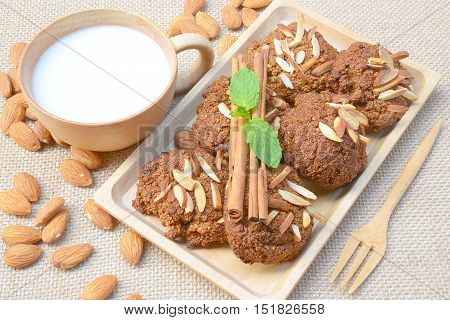 Homemade cookies, almonds and almond milk Clean Food.