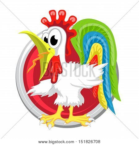 Rooster. Orient horoscope sign isolated in circle. Chinese symbols. Zodiac.