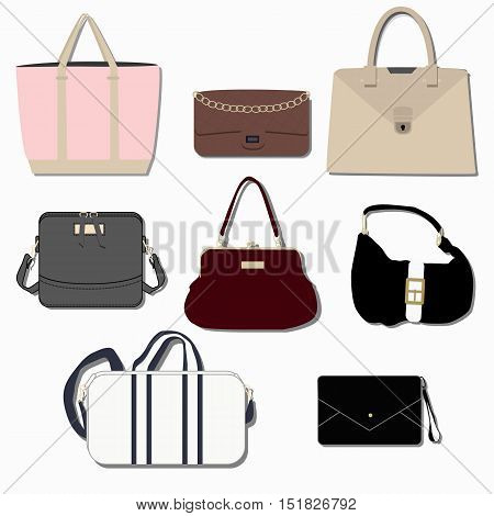 collection of fashion handbags clutches and backpacks. The template for store or sale. Vector illustration