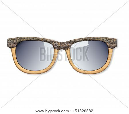 Hipster wooden glasses isolated on white background