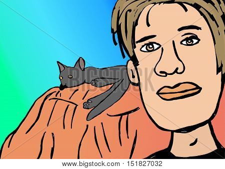 Watching television on sofa with kitty image