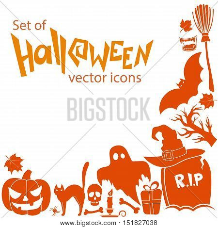 Corner frame of Halloween icons isolated on white background. Vector stock illustration.