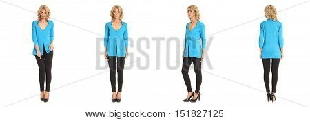 Full Length Portrait Of Beautiful Blonde In Blue Blouse
