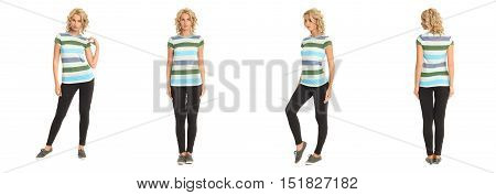 Full Length Portrait Of Beautiful Blonde In Striped Shirt