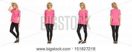 Full Length Portrait Of Beautiful Blonde In Pink Shirt