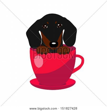 cute Dachshund dog in red teacup, illustration, set for baby fashion.