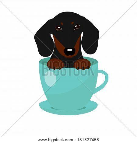 cute Dachshund dog in blue teacup, illustration, set for baby fashion.