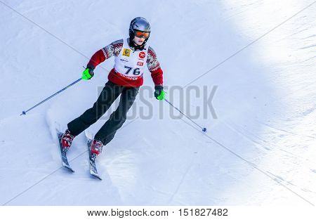 Gerardmer, France - Feb 19- Closeup On Ski Racer During The Annual Winter School Holiday On Feb 19,