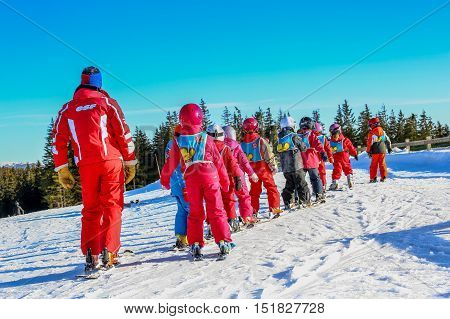 Gerardmer, France - Feb 20 - French Children Form Ski School Groups During The Annual Winter School