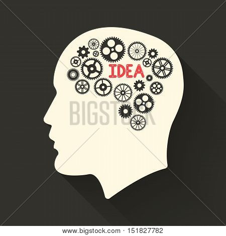 Head with brain pictograph. Male human think symbols. Vector illustration.