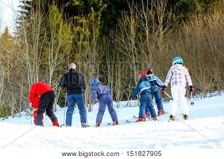 Gerardmer, France - Feb 16 - French Children Form Ski School Groups During The Annual Winter School