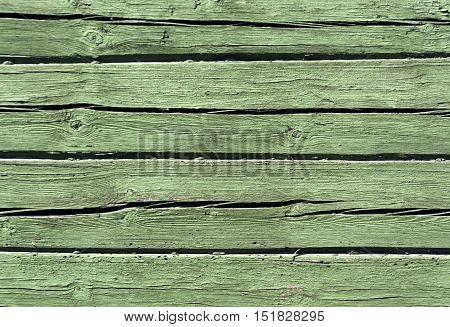 Green Color Log House Wall.