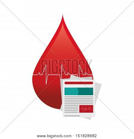 flat design blood drop cardiogram and medical history icon vector illustration