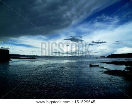 Titicaca lake at the Peru & Bolivia border