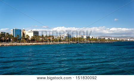 Coast line of Limassol in Cyprus in sunny day